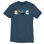Sushi Cats t-shirt TeeTurtle denim blue t-shirt featuring an orange tabby cat, black cat with a blue feather on its head, and calico cat resting on their own pieces of sushi.