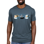 Sushi Cats Men's t-shirt model TeeTurtle denim blue t-shirt featuring an orange tabby cat, black cat with a blue feather on its head, and calico cat resting on their own pieces of sushi.