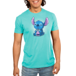 Boba Stitch Men's t-shirt model officially licensed Caribbean blue Disney t-shirt featuring Stitch sitting down with a big smile holding a purple boba drink