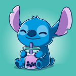 Boba Stitch t-shirt officially licensed Caribbean blue Disney t-shirt featuring Stitch sitting down with a big smile holding a purple boba drink