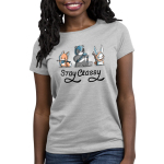 Stay Classy Women's t-shirt model TeeTurtle silver t-shirt featuring a fox with a bow and arrow, a panda in a helmet with a hammer, and a bunny with a cape and a staff