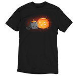 Pumpkin Carver t-shirt TeeTurtle black t-shirt featuring a cute gray cat with its head down on its paws next to a pumpkin with a smiling cat face carved into it