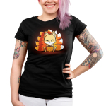 Candy Corn Kitsune Junior's t-shirt model TeeTurtle black t-shirt featuring a kitsune sitting down with a basket that looks like a pumpkin full of candy in front of him with its tails in the three colors of candy corn