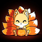 Candy Corn Kitsune t-shirt TeeTurtle black t-shirt featuring a kitsune sitting down with a basket that looks like a pumpkin full of candy in front of him with its tails in the three colors of candy corn
