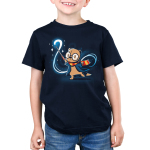 Magical Otter Kid's t-shirt model TeeTurtle navy t-shirt featuring an Otter with a lightning bolt scar on its forehead and big black circle glasses on with a red and yellow scarf and blue jack on holding a wand on with a magical swirl and stars behind him