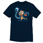 Magical Otter t-shirt TeeTurtle navy t-shirt featuring an Otter with a lightning bolt scar on its forehead and big black circle glasses on with a red and yellow scarf and blue jack on holding a wand on with a magical swirl and stars behind him