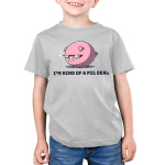 I'm Kind of a Pig Deal Kid's t-shirt model TeeTurtle silver t-shirt featuring a big pink pig with sunglasses on and two sparkles next to his sunglasses
