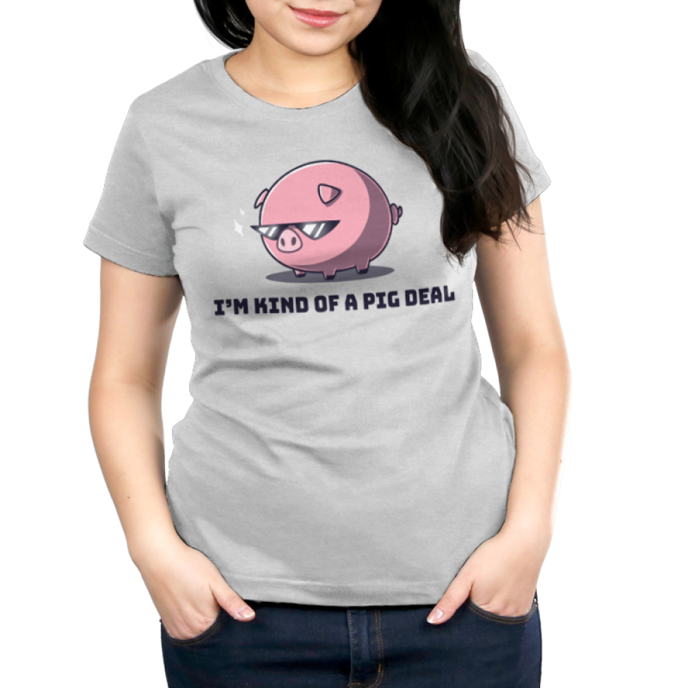 I'm Kind of a Pig Deal Women's t-shirt model TeeTurtle silver t-shirt featuring a big pink pig with sunglasses on and two sparkles next to his sunglasses