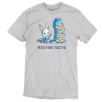 I Love Frosting t-shirt TeeTurtle silver t-shirt featuring a white bunny covered in blue frosting that's holding a frosting bag with a frosting bag behind him, and he's standing in front of a five-layered light brown cake covered in blue frosting.