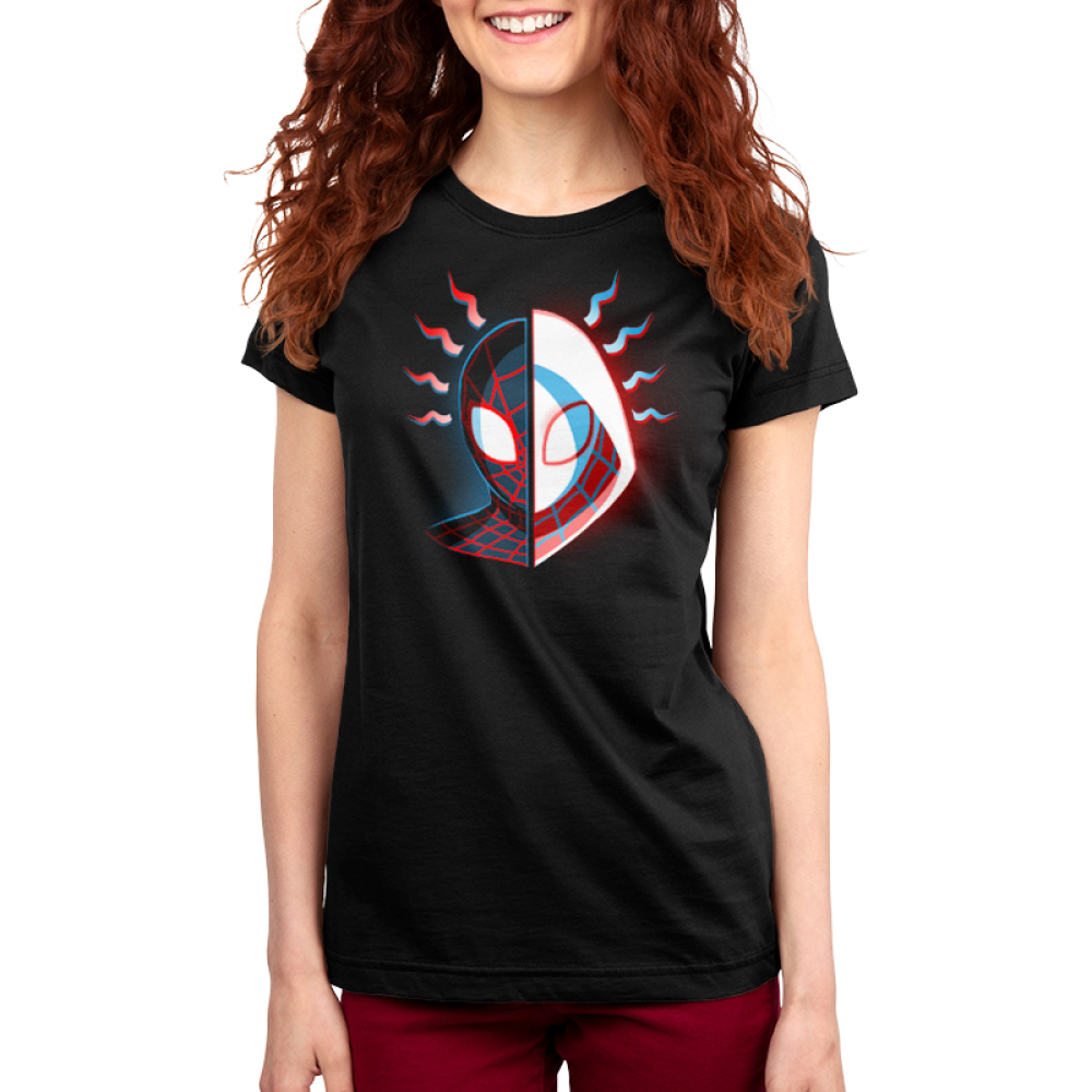 Miles & Gwen Women's t-shirt model officially licensed black Marvel t-shirt featuring spider-man's head face on with one half Miles Morales in his black spider-man suit and the other half Gwen Stavy in her white spider suit