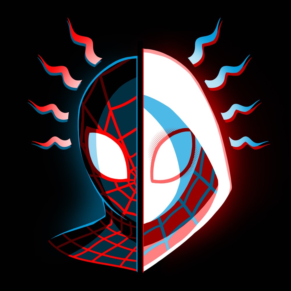 Miles & Gwen t-shirt officially licensed black Marvel t-shirt featuring spider-man's head face on with one half Miles Morales in his black spider-man suit and the other half Gwen Stavy in her white spider suit