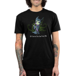 Of Course You Can Trust Me Men's t-shirt model officially licensed black Disney t-shirt featuring Maleficent from Sleeping Beauty giving a smirk while holder her staff with green sparkles coming out of her hand
