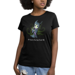 Of Course You Can Trust Me Women's t-shirt model officially licensed black Disney t-shirt featuring Maleficent from Sleeping Beauty giving a smirk while holder her staff with green sparkles coming out of her hand