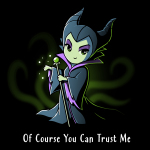 Of Course You Can Trust Me t-shirt officially licensed black Disney t-shirt featuring Maleficent from Sleeping Beauty giving a smirk while holder her staff with green sparkles coming out of her hand