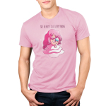 See Beauty in Everything Men's t-shirt model officially licensed pink Cartoon Network t-shirt featuring Rose Quartz from Steven Universe sitting in her pink dress holding a blue globe that looks like Earth