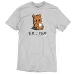 Bear-ly Awake t-shirt TeeTurtle silver t-shirt featuring a sleepy, grumpy brown bear rubbing his eye and holding a white mug of steaming coffee.