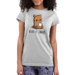 Bear-ly Awake Junior's t-shirt model TeeTurtle silver t-shirt featuring a sleepy, grumpy brown bear rubbing his eye and holding a white mug of steaming coffee.