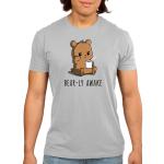 Bear-ly Awake Men's t-shirt model TeeTurtle silver t-shirt featuring a sleepy, grumpy brown bear rubbing his eye and holding a white mug of steaming coffee.