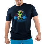 Gym Alien Men's t-shirt model TeeTurtle navy t-shirt featuring a green alien standing on a planet in outer space with star behind him, holding weights made out of meteors