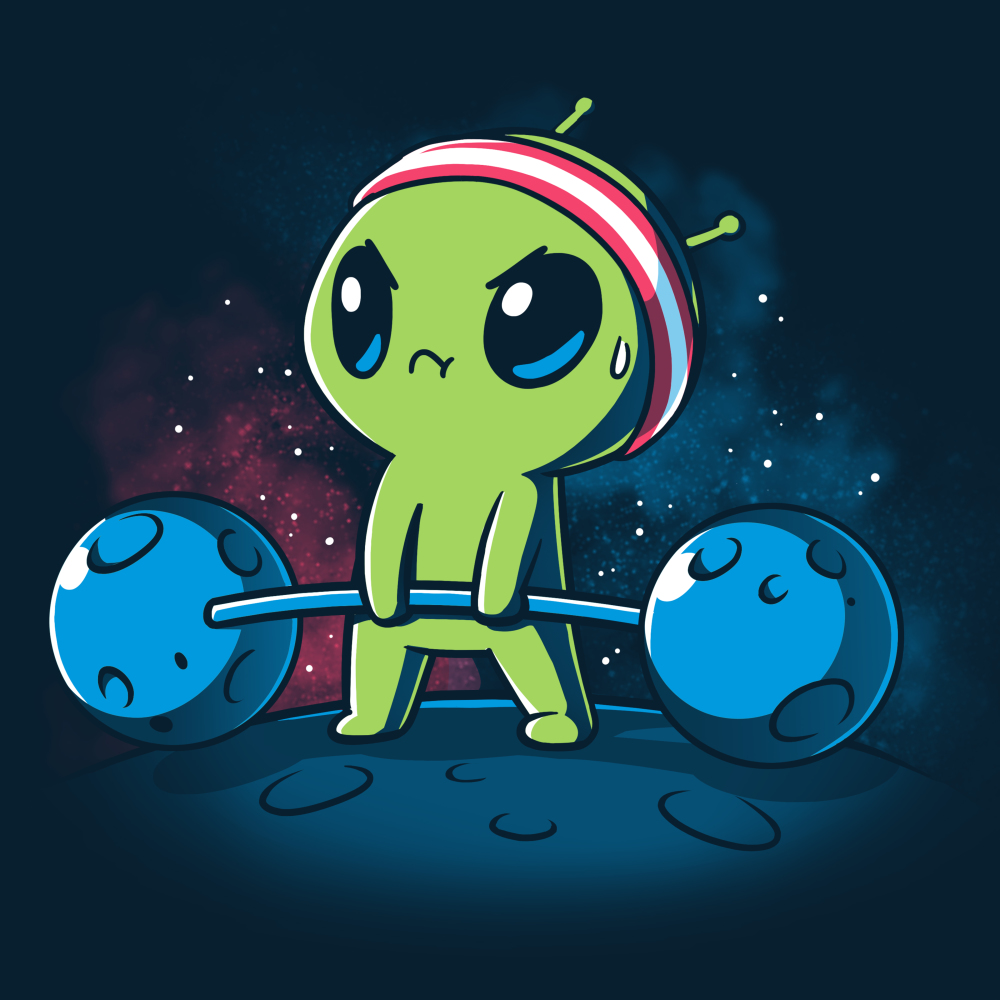 Gym Alien t-shirt TeeTurtle navy t-shirt featuring a green alien standing on a planet in outer space with star behind him, holding weights made out of meteors