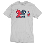 Symbiote Fight t-shirt officially licensed silver t-shirt featuring a spider-man in a red suit fighting a spider-man in a black with a spider-man in his usual red and blue suit hanging upside-down by a web in the background