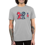 Symbiote Fight Men's t-shirt model officially licensed silver t-shirt featuring a spider-man in a red suit fighting a spider-man in a black with a spider-man in his usual red and blue suit hanging upside-down by a web in the background