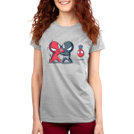 Symbiote Fight Women's t-shirt model officially licensed silver t-shirt featuring a spider-man in a red suit fighting a spider-man in a black with a spider-man in his usual red and blue suit hanging upside-down by a web in the background