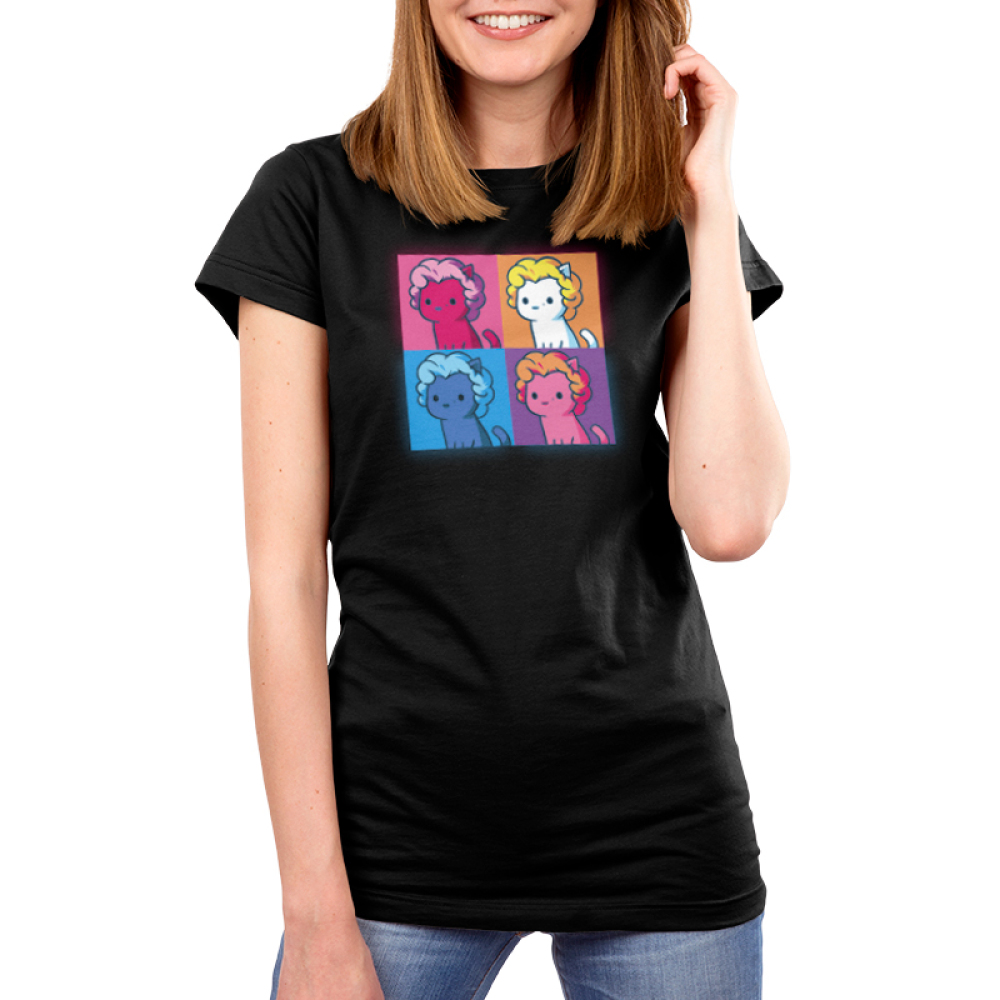 Marilyn Meownroe Women's t-shirt model TeeTurtle apple green t-shirt featuring a square grid with a magenta cat with a lavander wig and small mole on her upper righthand lip on the top lefthand pink square, a white cat with a blode wig and small mole on her upper righthand lip on the top righthand orange square, a navy blue cat with a sky blue wig and small mole on her upper righthand lip on the bottom lefthand blue square, and a pink cat with an orange wig and small mole on her upper righthand lip on the bottom righthand purple square.
