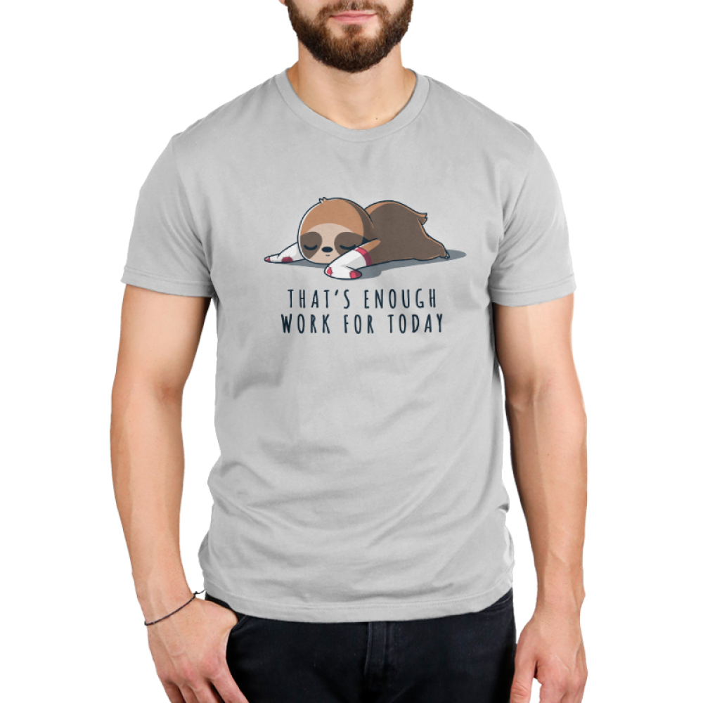 That's Enough Work for Today Men's t-shirt model TeeTurtle silver t-shirt featuring a sloth lying down and sleeping while wearing white and red socks on its limbs.