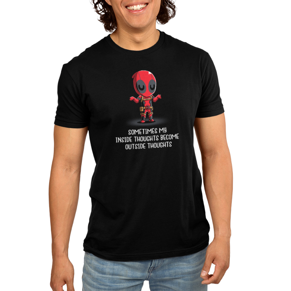 Inside Thoughts Men's t-shirt model officially licensed black Marvel t-shirt featuring Deadpool shrugging