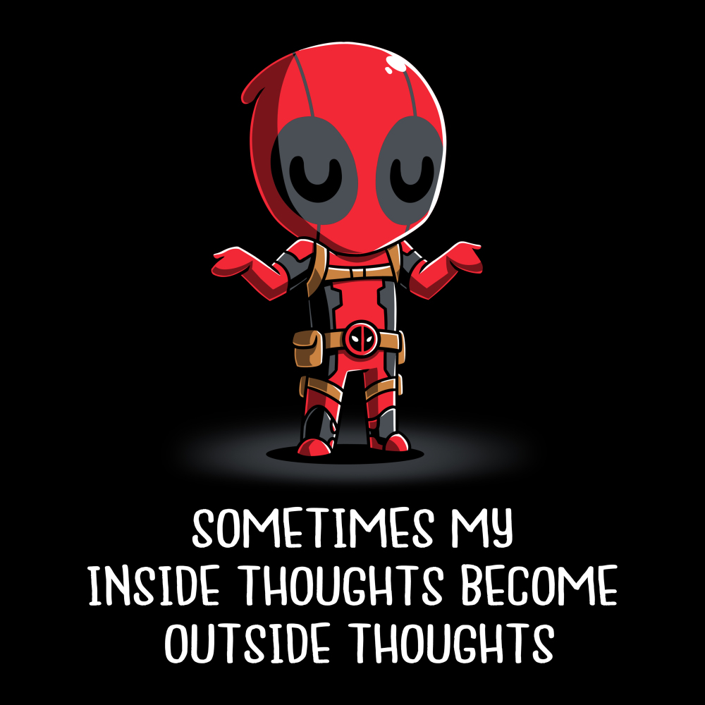 Inside Thoughts t-shirt officially licensed black Marvel t-shirt featuring Deadpool shrugging