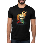 Brotherly Love Men's t-shirt model officially licensed black Marvel t-shirt featuring Thor with a big smile hugging and squeezing Loki tight who looks annoyed