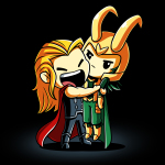 Brotherly Love t-shirt officially licensed black Marvel t-shirt featuring Thor with a big smile hugging and squeezing Loki tight who looks annoyed
