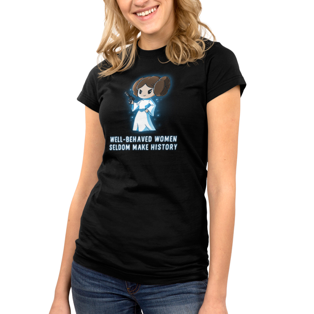 Well-Behaved Women Seldom Make History Junior's t-shirt model officially licensed black Star Wars t-shirt featuring Princess Leia smirking in her white dress and a gun in her hand