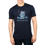 Make Your Own Magic Men's t-shirt model TeeTurtle navy t-shirt featuring a gray cat in a blue and gray stripped shirt holding up a stick with balls of yarn and a book behind him