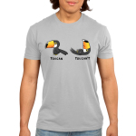 Toucan't Men's t-shirt model TeeTurtle silver t-shirt featuring a Toucan standing up with a smile and another toucan laying down frowning