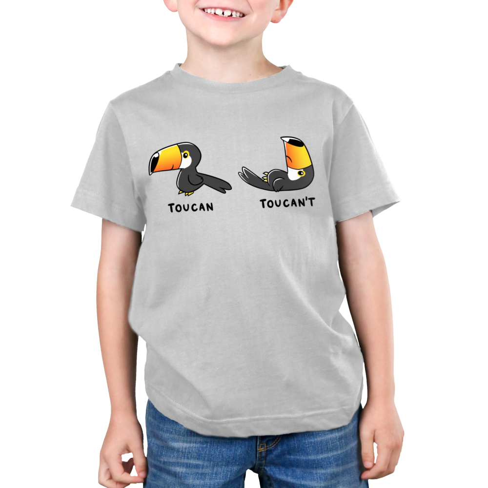 Toucan't Kid's t-shirt model TeeTurtle silver t-shirt featuring a Toucan standing up with a smile and another toucan laying down frowning