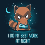 I Do My Best Work at Night t-shirt TeeTurtle navy t-shirt featuring a brown raccoon with his tongue sticking out while using a video game controller with a crescent moon and stars in the background.