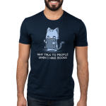 Why Talk to People When I Have Book Men's t-shirt model TeeTurtle navy t-shirt featuring a gray tabby cat happily holding up a sparkling dark gray book in front of him.