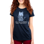 Why Talk to People When I Have Book Women's t-shirt model TeeTurtle navy t-shirt featuring a gray tabby cat happily holding up a sparkling dark gray book in front of him.