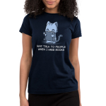 Why Talk to People When I Have Book Junior's t-shirt model TeeTurtle navy t-shirt featuring a gray tabby cat happily holding up a sparkling dark gray book in front of him.