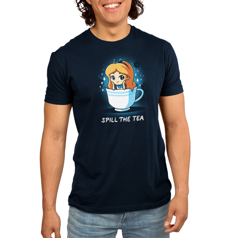 Spill the Tea (Alice) Men's t-shirt model officially licensed navy Disney t-shirt featuring Alice from Alice in Wonderland sitting in a white tea cup with her head resting on her hands and sparkles behind her