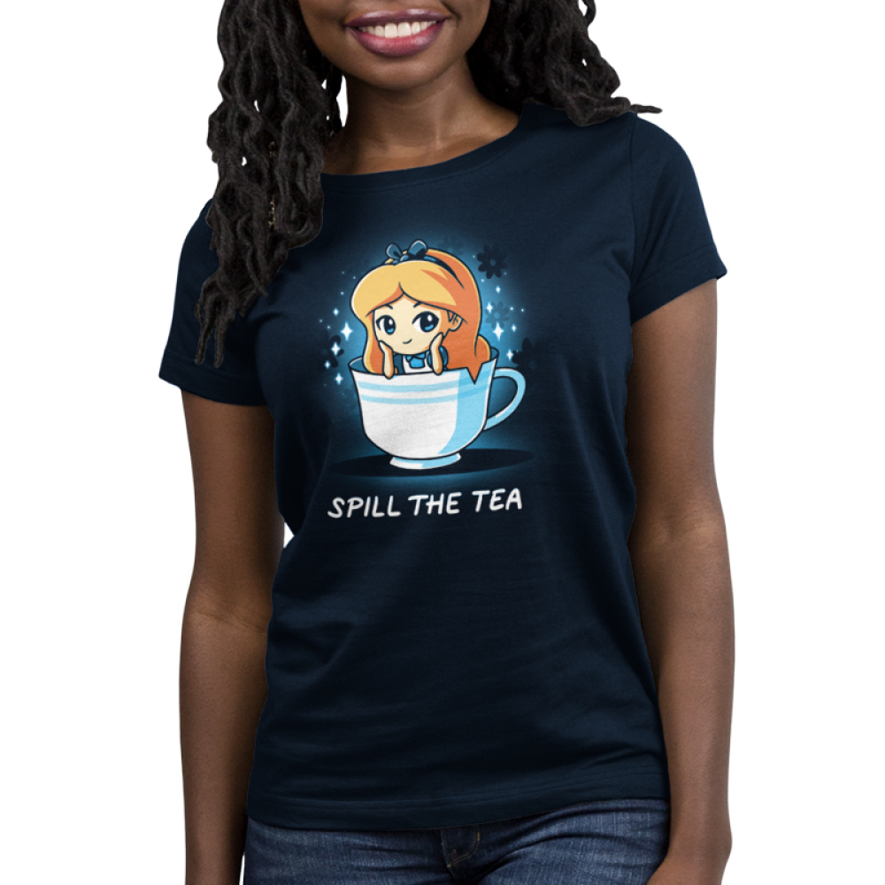 Spill the Tea (Alice) Women's t-shirt model officially licensed navy Disney t-shirt featuring Alice from Alice in Wonderland sitting in a white tea cup with her head resting on her hands and sparkles behind her