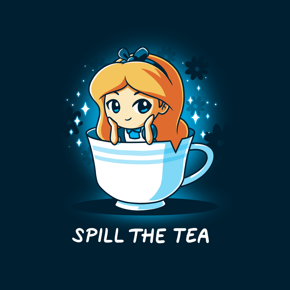 Spill the Tea (Alice) t-shirt officially licensed navy Disney t-shirt featuring Alice from Alice in Wonderland sitting in a white tea cup with her head resting on her hands and sparkles behind her