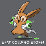 What Could Go Wrong t-shirt TeeTurtle charcoal t-shirt featuring a light brown bunny with big circle glasses wearing a white lab coat holding two science flasks with skulls on them filled with green bubbling liquid