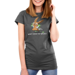 What Could Go Wrong Women's t-shirt model TeeTurtle charcoal t-shirt featuring a light brown bunny with big circle glasses wearing a white lab coat holding two science flasks with skulls on them filled with green bubbling liquid
