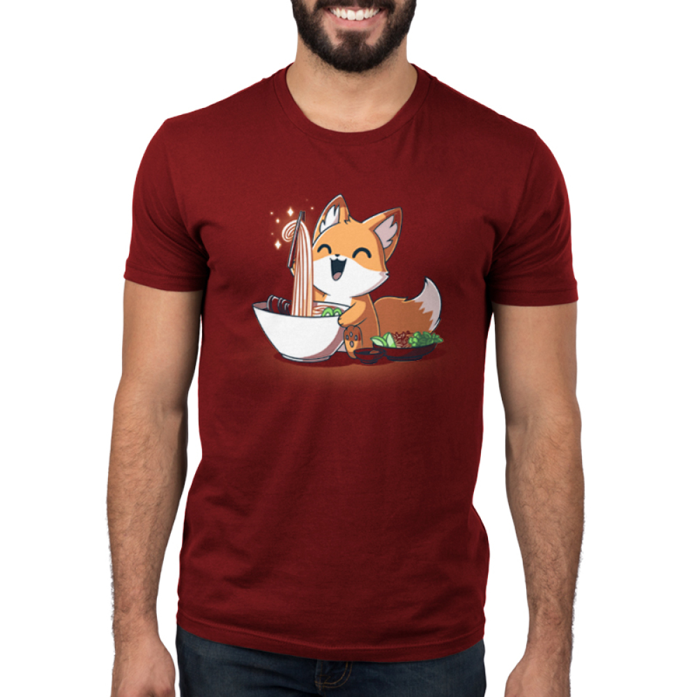 Pho Fox Men's t-shirt model TeeTurtle garnet red t-shirt featuring an orange fox looking super happy holding a hair of chopsticks up with a big bunch of noodles coming from a white bowl of pho and a little owl of veggies next to him