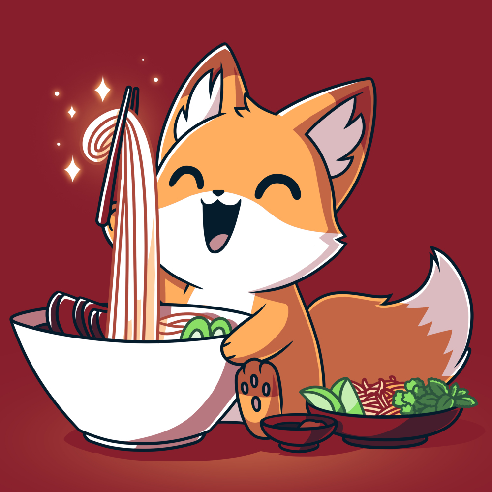 Pho Fox t-shirt TeeTurtle garnet red t-shirt featuring an orange fox looking super happy holding a hair of chopsticks up with a big bunch of noodles coming from a white bowl of pho and a little owl of veggies next to him