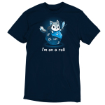 I'm on a Roll t-shirt TeeTurtle navy t-shirt featuring a wolf holding a sword on top of a big blue tabletop dice