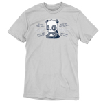 Anxious Thoughts t-shirt TeeTurtle silver t-shirt featuring an anxious-looking panda sitting down with the thoughts,